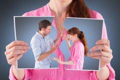 Imagem composta dos pares que discutem um com o otro Foto de Stock