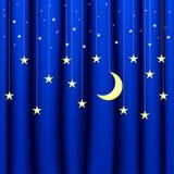 Imagem conceptual do fundo da cortina azul com as estrelas de tamanhos diferentes Foto de Stock Royalty Free