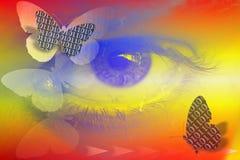 Imagem conservada em estoque do código binário abstrato e do olho como o conceito da visão de Digitas Fotografia de Stock