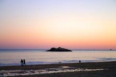 Imagem conservada em estoque do por do sol da praia do canto Fotografia de Stock