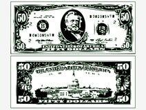 A imagem contorna notas de dólar Ilustração do Vetor