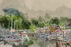 Imagem convertida Painterly de um porto com barcos e iate foto de stock