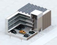 Imagem cortante do conceito para o sistema automático do estacionamento do carro pelo AGV ilustração stock