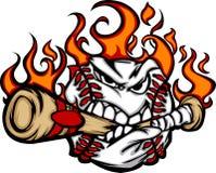 Imagem cortante do vetor do bastão da face flamejante da esfera do basebol ilustração stock
