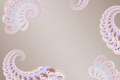 Imagem 3D abstrata em um fundo cor-de-rosa de elementos modelados do fractal, screensaver à moda moderno da fantasia ilustração stock