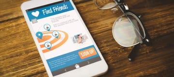 Imagem 3d composta da imagem digital do telefone celular com ícones na tela Fotos de Stock