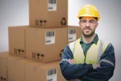 Imagem 3d composta do capacete de segurança vestindo e do eyewear do trabalhador manual Imagens de Stock