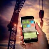 Imagem 3d composta do close-up da mão que guarda o móbil Imagem de Stock