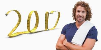 a imagem 3D composta do instrutor considerável de sorriso com braços cruzou-se no gym Imagens de Stock Royalty Free