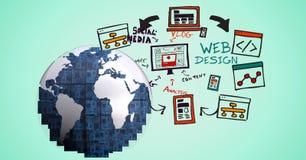 imagem 3d de vários símbolos do globo contra o fundo azul Fotografia de Stock