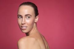Imagem da beleza de uma mulher bonita e feliz Foto de Stock