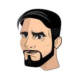 A imagem da cabeça dos homens europeus com uma barba ilustração do vetor