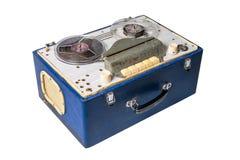 Imagem da cassete áudio magnética soviética caseiro do vintage carretel-a-ree fotos de stock