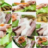 Imagem da colagem com sanduíches imagem de stock
