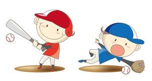 Imagem da confrontação do basebol do estudante da escola primária ilustração do vetor