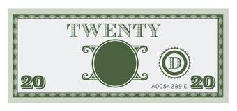 Imagem da conta de dinheiro vinte Com o espaço para adicionar seu texto Imagem de Stock Royalty Free