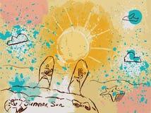 Imagem da cor com o sol e o pulverizador ilustração royalty free