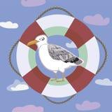 Imagem da cor com uma gaivota e as nuvens ilustração royalty free