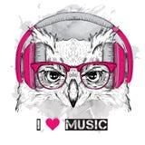 A imagem da coruja nos vidros e nos fones de ouvido Ilustração do vetor ilustração stock