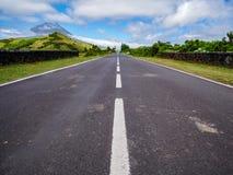 Imagem da estrada que conduz a um ponto avanishing com a montanha de Pico e de vegetação imagem de stock