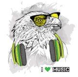 A imagem da águia nos vidros e nos fones de ouvido Ilustração do vetor Imagens de Stock Royalty Free