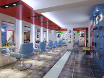 Imagem da loja de barbeiro da rendição que mostra cadeiras fotos de stock