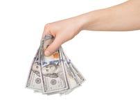 Imagem da mão que guarda 100 notas de dólar Fotografia de Stock