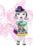 Imagem da menina da aquarela, cópia do t-shirt ilustração royalty free