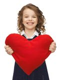 Menina com coração grande Fotografia de Stock