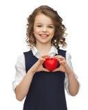 Menina com coração pequeno Imagens de Stock