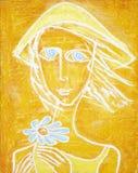 Imagem da menina de olhos azuis ensolarada com flor azul Pintura acrílica abstrata Imagem de Stock Royalty Free