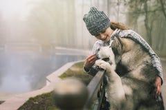 Imagem da moça com seu cão, malamute do Alasca, exterior foto de stock