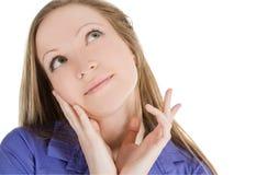 Imagem da mulher de pensamento bonita sobre o branco imagens de stock