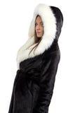 Imagem da mulher de sorriso no casaco de pele Foto de Stock Royalty Free