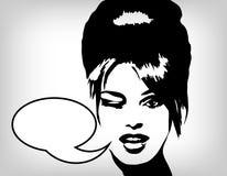 Imagem da mulher no estilo retro, fundo da forma Imagem de Stock Royalty Free