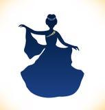 Imagem da mulher romântica da dança. Silhueta retro da mulher Imagens de Stock