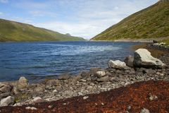 Imagem da natureza e das paisagens ao longo da costa de Islândia fotografia de stock