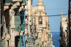Imagem da opinião da rua de Malta, Valletta imagens de stock royalty free