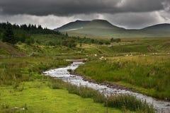 Imagem da paisagem do campo transversalmente às montanhas Imagem de Stock Royalty Free