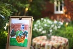 imagem da pintura da mão do artista de flores do jasmim e de casa da casa de campo Imagens de Stock Royalty Free