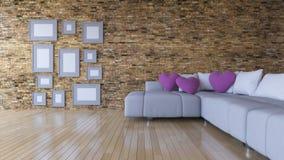 imagem da rendição 3d da sala de visitas do design de interiores Fotos de Stock Royalty Free