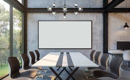 Imagem da rendição da sala de reunião 3d do estilo do sótão Fotos de Stock