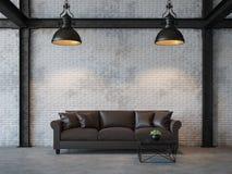 Imagem da rendição da sala de visitas 3d do estilo do sótão Fotografia de Stock Royalty Free
