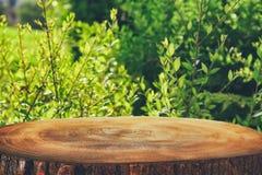 a imagem da tabela de madeira em árvores de floresta verdes dianteiras ajardina o fundo para a exposição e a apresentação do prod Fotografia de Stock
