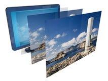 Imagem da tevê 3D Fotos de Stock