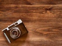 Imagem da vista superior da câmera velha do vintage foto de stock royalty free