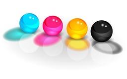 Imagem das bolas de CMYK quatro Imagem de Stock