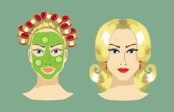 A imagem das mulheres antes e depois Imagem de Stock Royalty Free