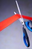 Imagem das tesouras que cortam uma fita vermelha Imagens de Stock