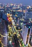 Imagem de borrão da cidade de Banguecoque com bokeh do círculo Foto de Stock Royalty Free